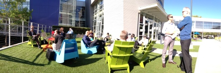 Relaxing before our Google tour